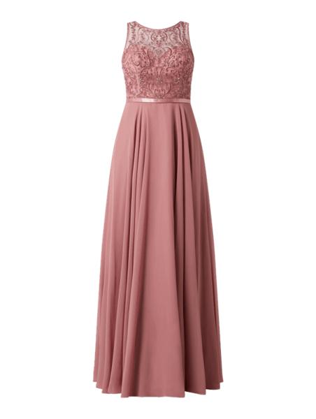 Różowa sukienka Luxuar bez rękawów z satyny maxi