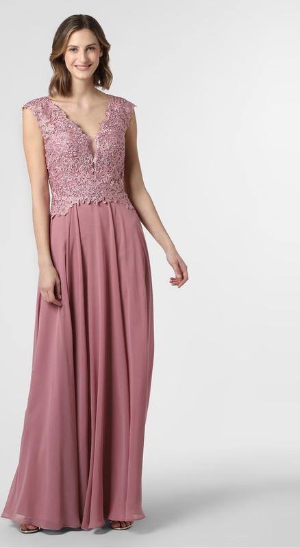 Różowa sukienka Luxuar Fashion bez rękawów rozkloszowana