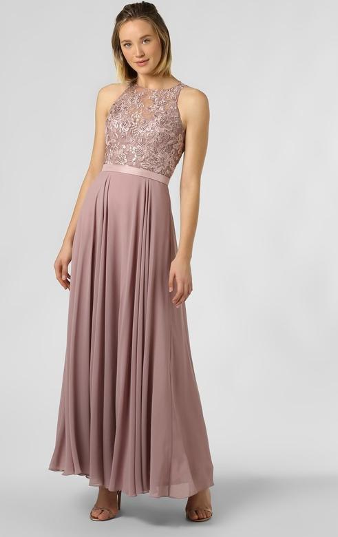 Różowa sukienka Luxuar Fashion bez rękawów rozkloszowana maxi