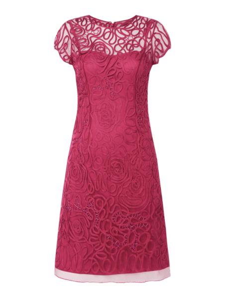 Różowa sukienka Luxuar z krótkim rękawem z okrągłym dekoltem