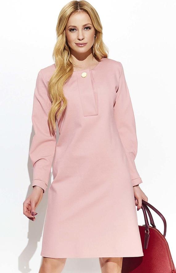 Różowa sukienka Makadamia z długim rękawem mini trapezowa