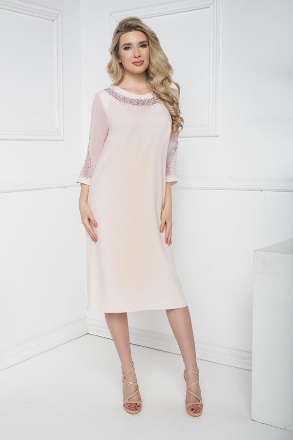 Różowa sukienka Marcelini z szyfonu prosta