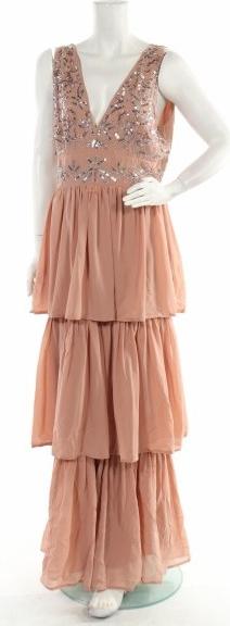 Różowa sukienka Maya Deluxe z dekoltem w kształcie litery v bez rękawów maxi