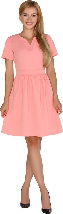 Różowa sukienka MERRIBEL z dekoltem w kształcie litery v midi z krótkim rękawem