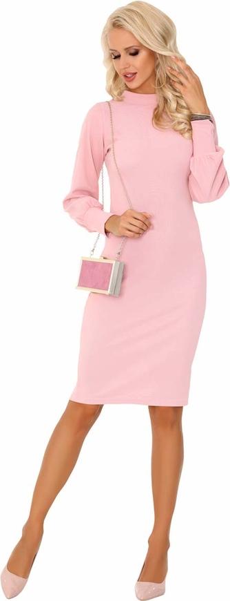 Różowa sukienka MERRIBEL z okrągłym dekoltem