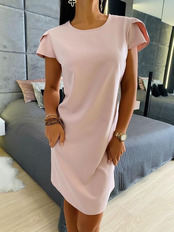 Różowa sukienka ModnaKiecka.pl w stylu casual mini z krótkim rękawem