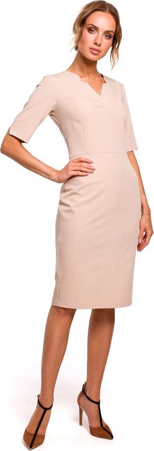 Różowa sukienka MOE dopasowana z długim rękawem w stylu casual