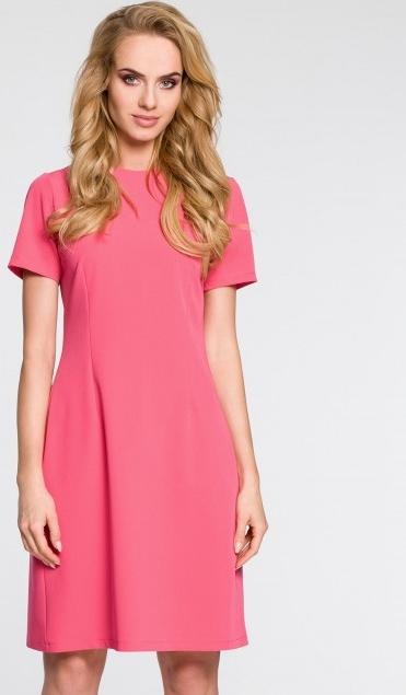 Różowa sukienka MOE midi z dekoltem w kształcie litery v