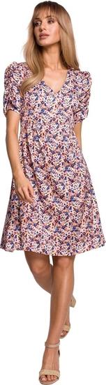 Różowa sukienka MOE mini z dekoltem w kształcie litery v