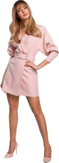 Różowa sukienka MOE mini z tkaniny z długim rękawem