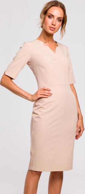 Różowa sukienka MOE ołówkowa z krótkim rękawem w stylu casual