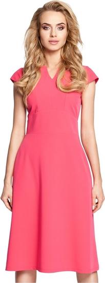 Różowa sukienka MOE z krótkim rękawem z dekoltem w kształcie litery v midi