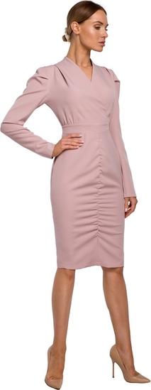 Różowa sukienka MOE z tkaniny z długim rękawem