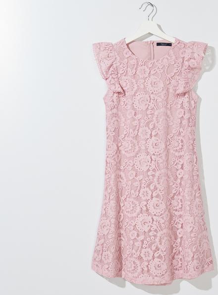 Różowa sukienka Mohito z okrągłym dekoltem