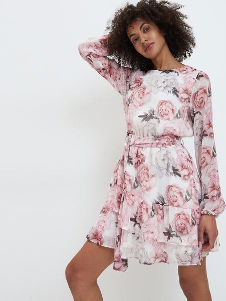 Różowa sukienka Mohito z okrągłym dekoltem mini