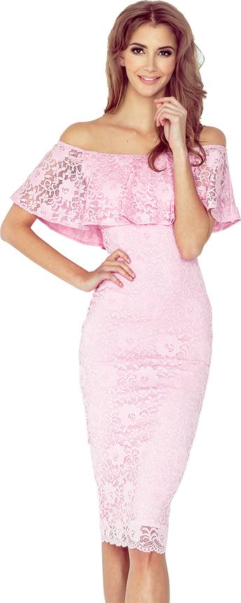 Różowa sukienka MORIMIA hiszpanka midi z krótkim rękawem
