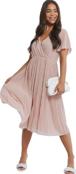 Różowa sukienka NA-KD z krótkim rękawem