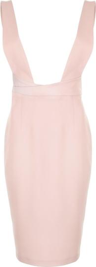Różowa sukienka Nife ołówkowa bez rękawów z dekoltem w kształcie litery v