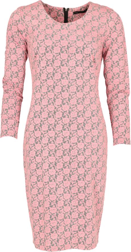 Różowa sukienka Niren z długim rękawem z żakardu dopasowana