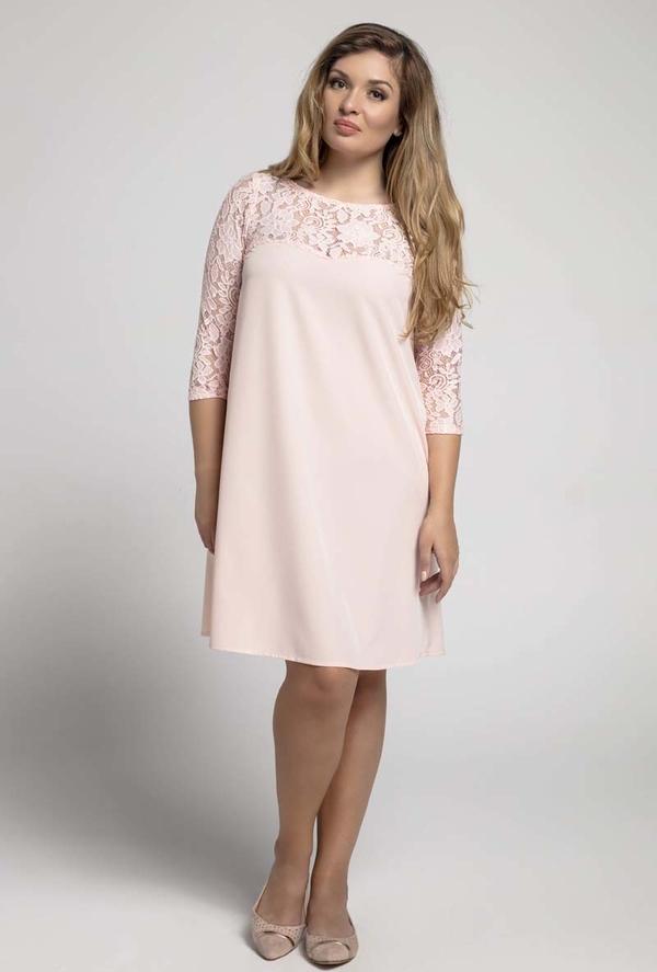 Różowa sukienka Nommo z okrągłym dekoltem midi dla puszystych