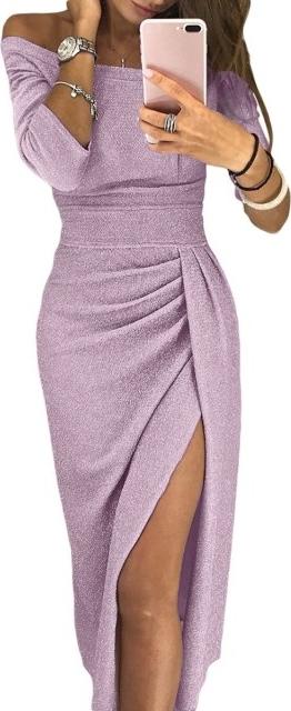 Różowa sukienka noshame z okrągłym dekoltem z długim rękawem midi