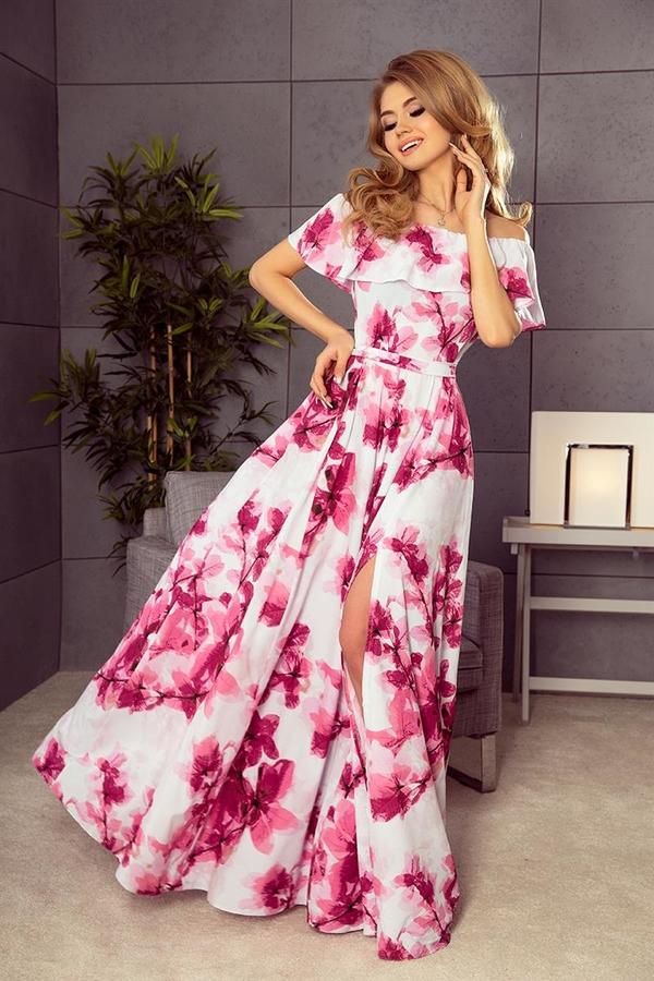 Różowa sukienka NUMOCO hiszpanka maxi z krótkim rękawem