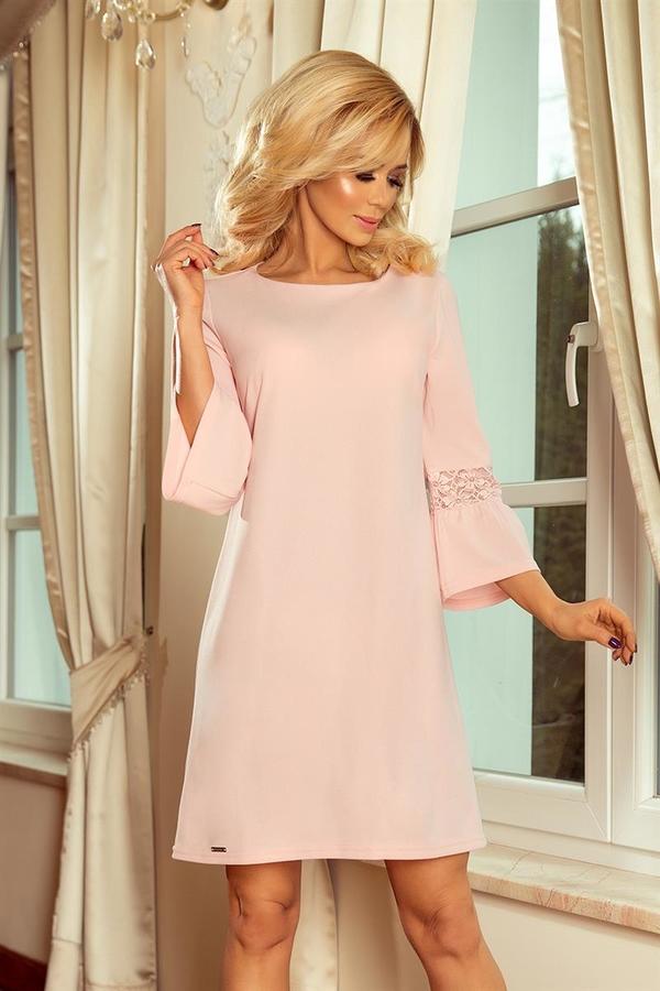 Różowa sukienka NUMOCO midi trapezowa