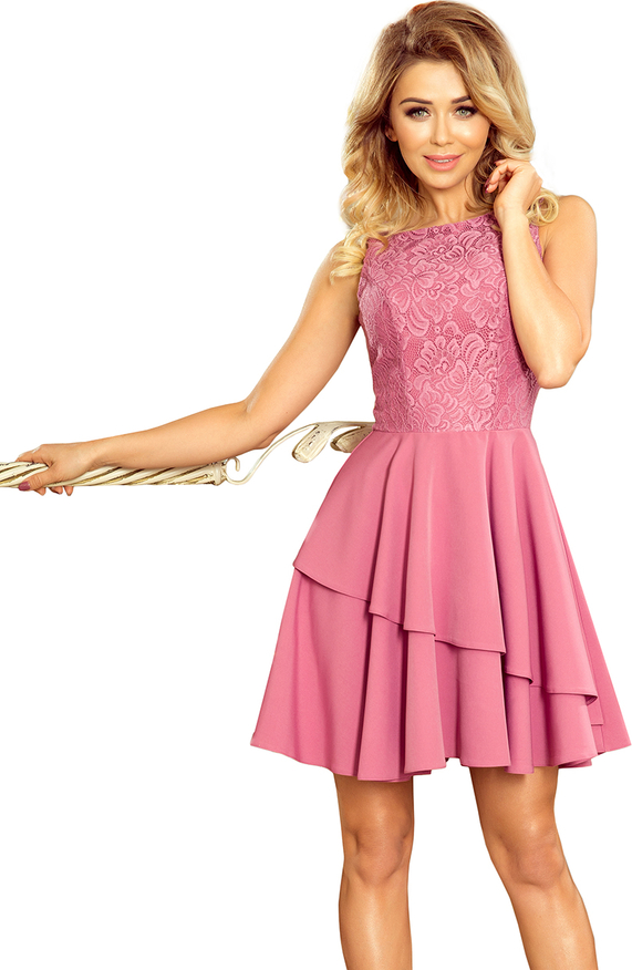 Różowa sukienka NUMOCO mini bez rękawów