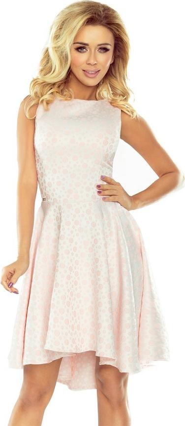 Różowa sukienka NUMOCO mini rozkloszowana z okrągłym dekoltem