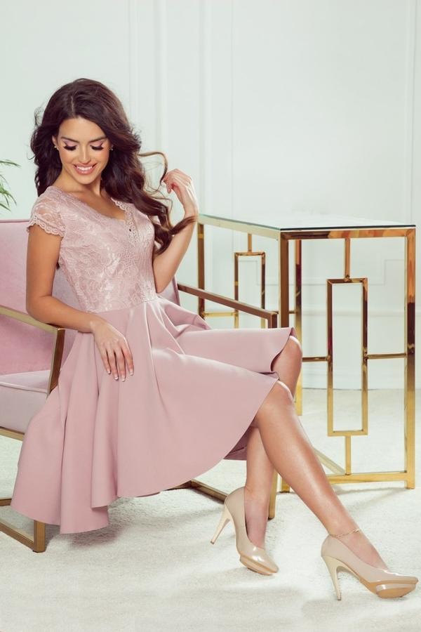 Różowa sukienka NUMOCO mini z krótkim rękawem z dekoltem w kształcie litery v