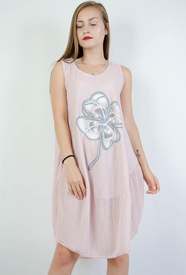Różowa sukienka Olika z okrągłym dekoltem w stylu casual