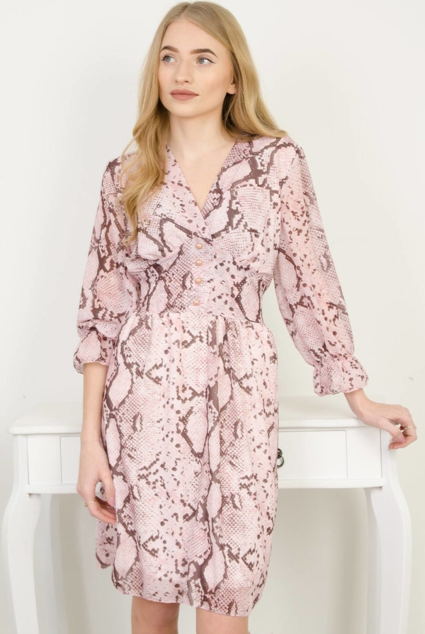 Różowa sukienka Olika ze skóry