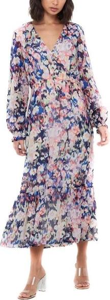 Różowa sukienka Only midi z dekoltem w kształcie litery v
