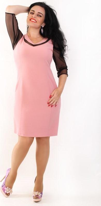Różowa sukienka Oscar Fashion z długim rękawem ołówkowa