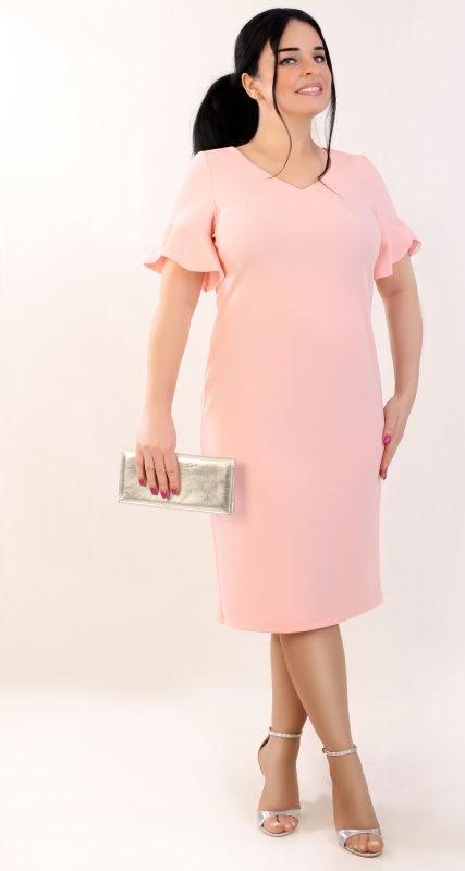 Różowa sukienka Oscar Fashion z krótkim rękawem