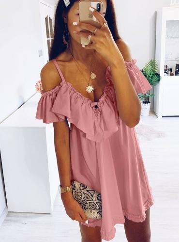 Różowa sukienka Pakuten mini z krótkim rękawem