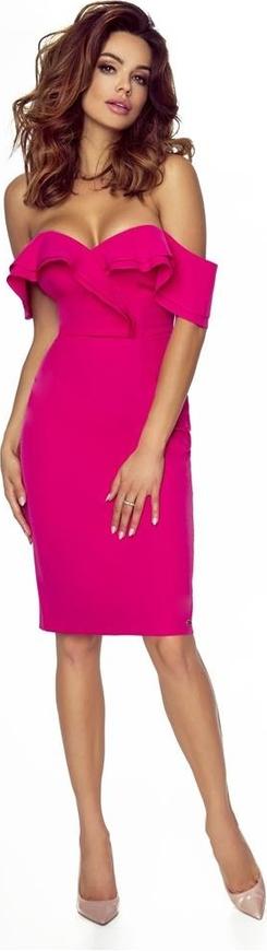 Różowa sukienka Pawelczyk24.pl midi z krótkim rękawem