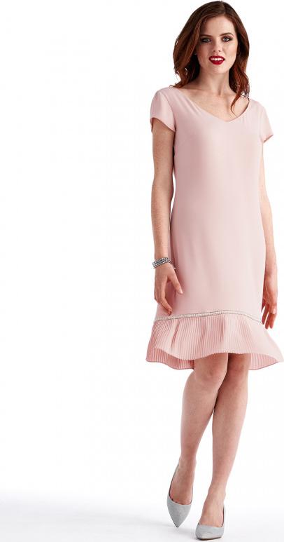 Różowa sukienka POTIS & VERSO z krótkim rękawem