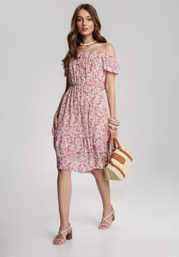 Różowa sukienka Renee midi w stylu casual