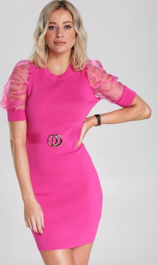 Różowa sukienka Renee mini dopasowana z krótkim rękawem