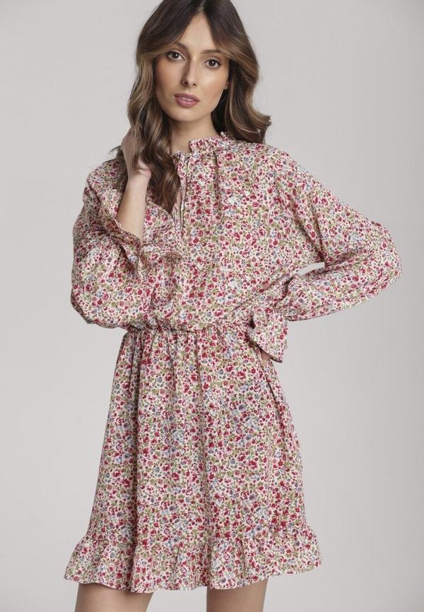 Różowa sukienka Renee rozkloszowana mini z długim rękawem