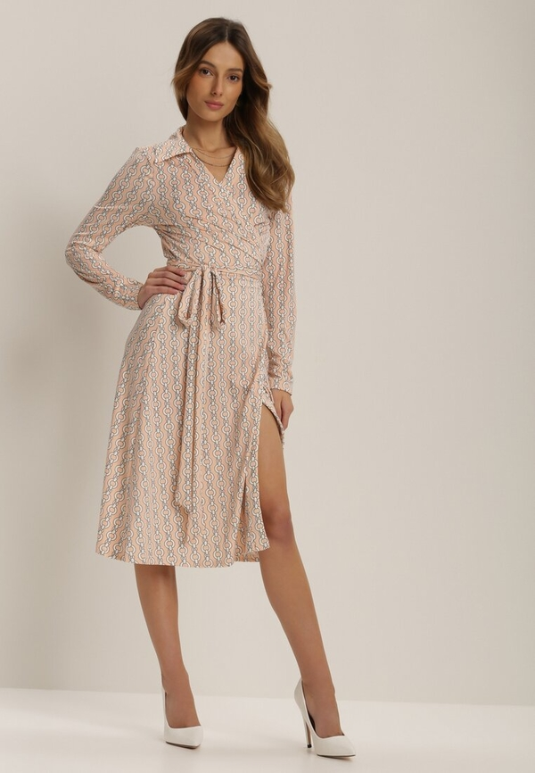 Różowa sukienka Renee z dekoltem w kształcie litery v