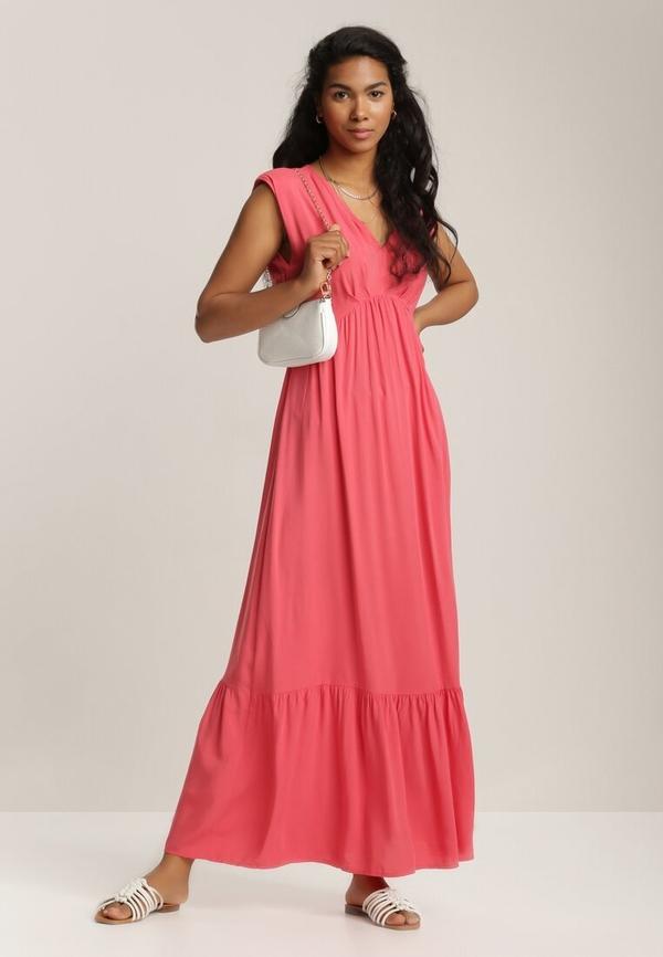 Różowa sukienka Renee z dekoltem w kształcie litery v rozkloszowana