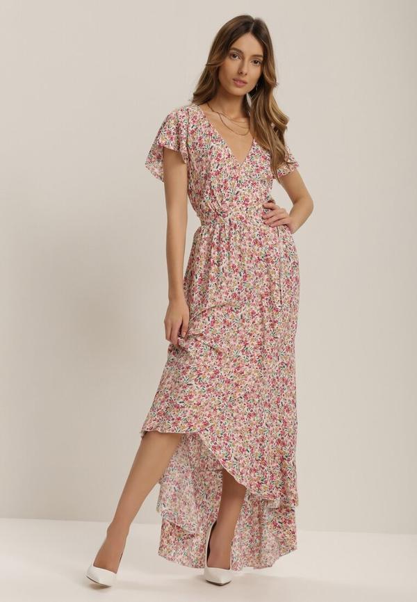 Różowa sukienka Renee z dekoltem w kształcie litery v z krótkim rękawem