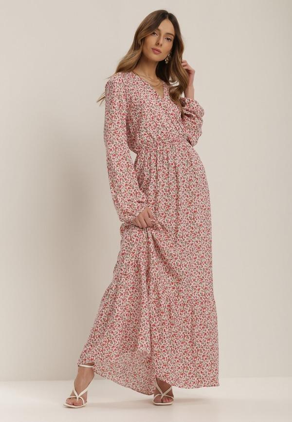 Różowa sukienka Renee z długim rękawem maxi
