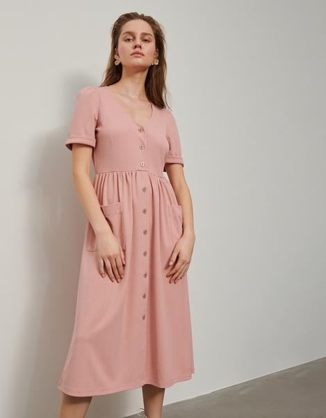 Różowa sukienka Reserved midi w stylu casual z krótkim rękawem