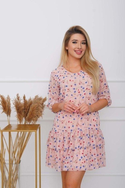 Różowa sukienka Royalfashion.pl z długim rękawem mini