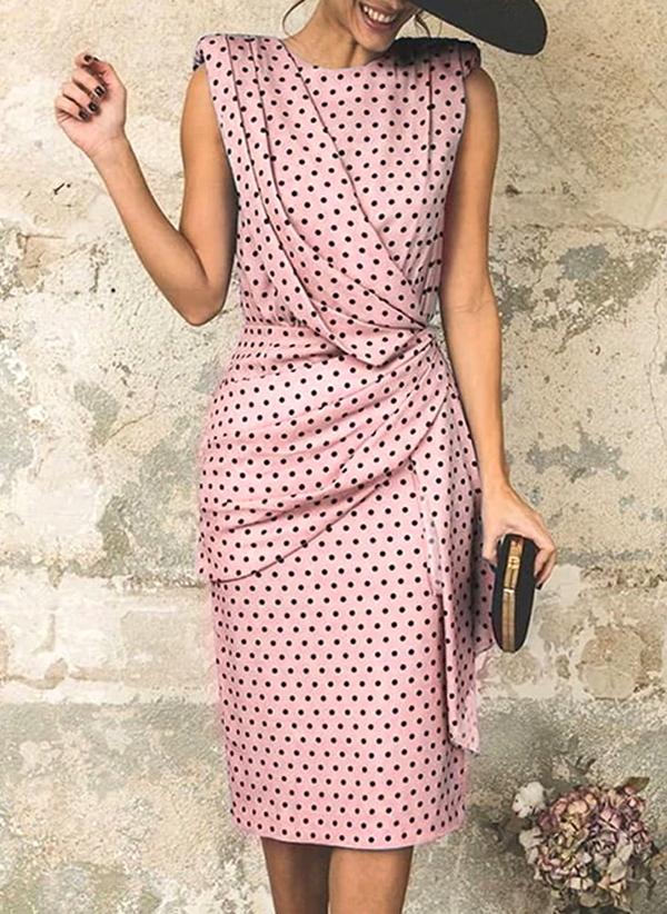 Różowa sukienka Sandbella z okrągłym dekoltem bez rękawów