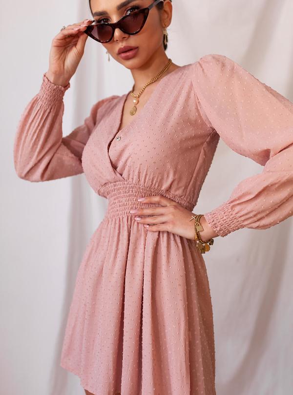 Różowa sukienka SELFIEROOM mini z dekoltem w kształcie litery v