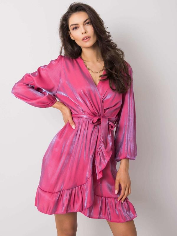 Różowa sukienka Sheandher.pl w stylu casual mini z długim rękawem